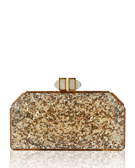Specchio Paillettes Resin Clutch Bag