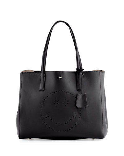 Ebury Shopper Smiley Tote Bag, Black