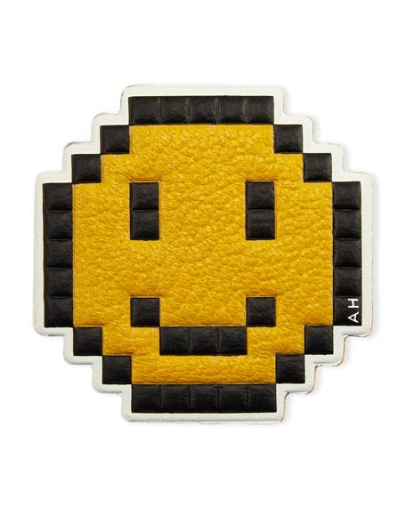 Pixelated Smiley Leather Sticker for Handbag, Mustard