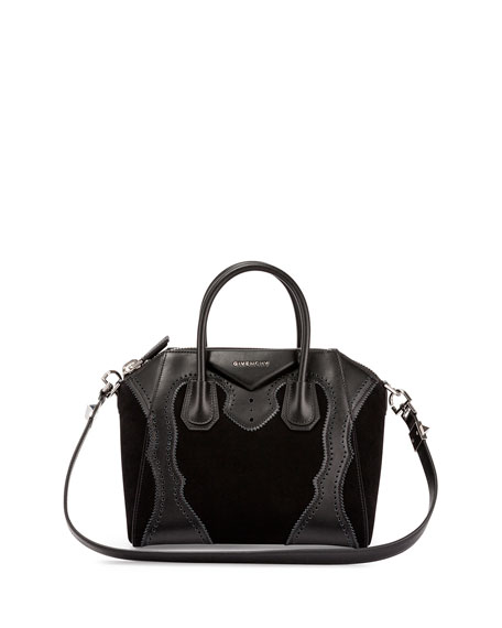 Givenchy Antigona Small Brogue Suede Satchel Bag, Black