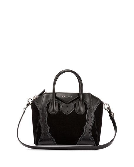 f05eca22c5976 Givenchy Antigona Small Brogue Suede Satchel Bag