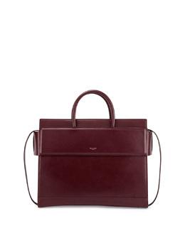 Horizon Medium Leather Satchel Bag, Oxblood