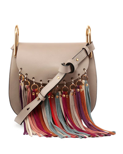 Hudson Fringe-Trim Leather Shoulder Bag, Motty Grey