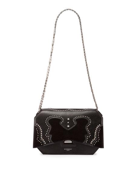 Bow-Cut Brogue Leather Crossbody Bag, Black