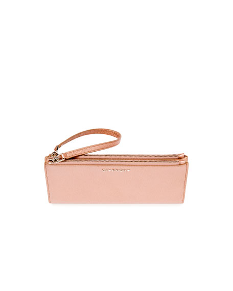 Pandora Long Double-Zip Wristlet Wallet, Light Pink