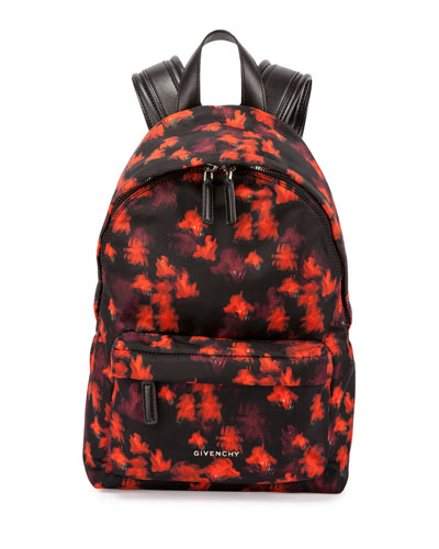Small Floral-Print Nylon Backpack, Multicolor
