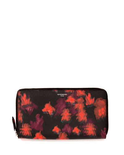 Iconic Prints Zip-Around Wallet, Red/Multi