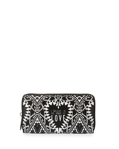 Iconic Power of Love Zip Wallet, Black/Multi