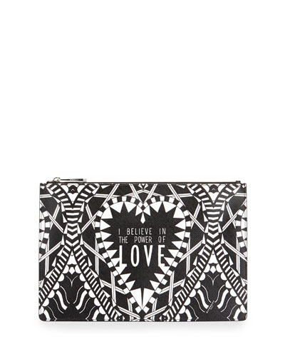 Power of Love Medium Pouch Bag, Black/White