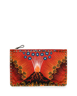 Wonderland Large Flat Zip Pouch, Red Pattern