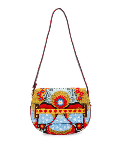 My Rockstud Beaded Leather Shoulder Bag, Multi