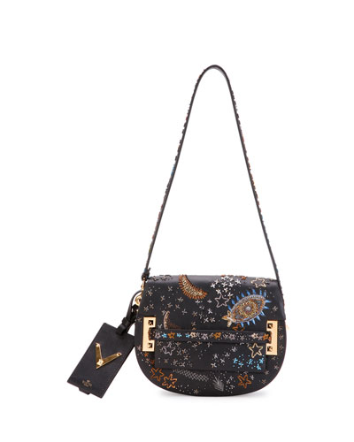 My Rockstud Embellished Saddle Bag, Black Pattern