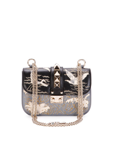 Lock Small Embroidered Leather Shoulder Bag, Black Pattern