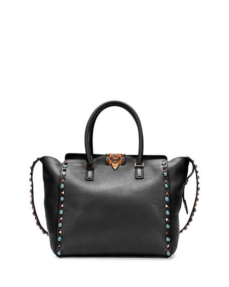 652e9604d5 Valentino Garavani Rockstud Rolling Double-Handle Tote Bag