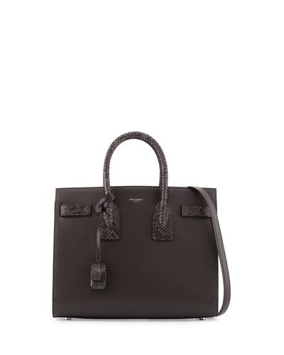 Sac de Jour Small Grained Leather/Python Satchel Bag, Dark Anthracite