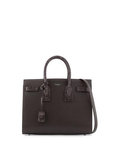 Sac de Jour Small Grained Leather/Python Satchel Bag, Dark Anthracite