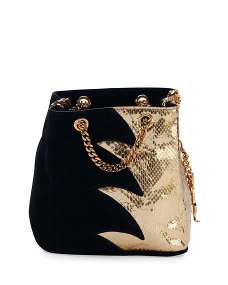 9d5dd46949 Saint Laurent Emmanuelle Suede   Python Baby Bucket Bag