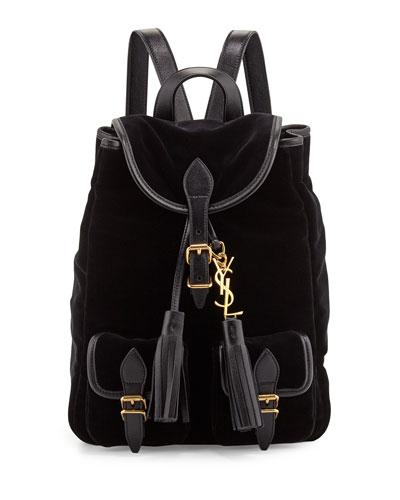 Festival Small Velour Backpack, Black