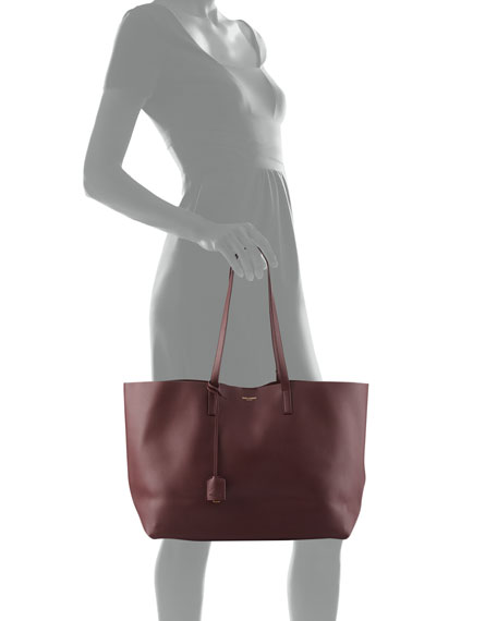 a9e3e6009d4 Large East-West Leather Shopper Bag