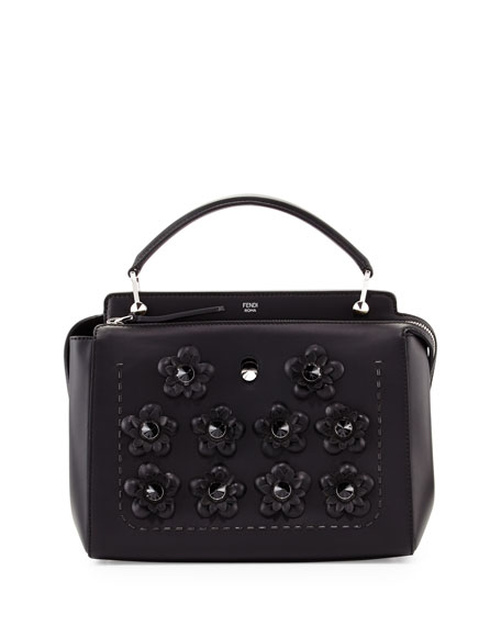 DOTCOM Medium Flowers Satchel Bag, Black