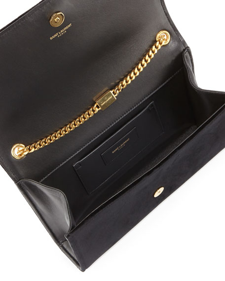 Monogram Sequin Flower Rock Flap Wallet-on-a-Chain Bag, Black/Multi
