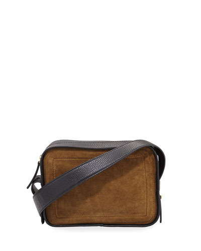 Spring Suede & Leather Crossbody Bag, Tobacco/Black