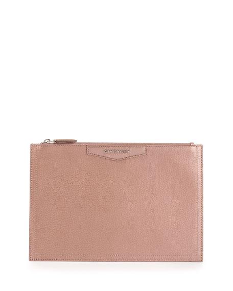 Antigona Medium Metallic Zip Pouch Bag, Light Pink