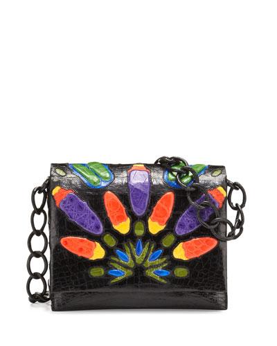 Gio Peacock Crocodile Chain Crossbody Bag, Black/Multi