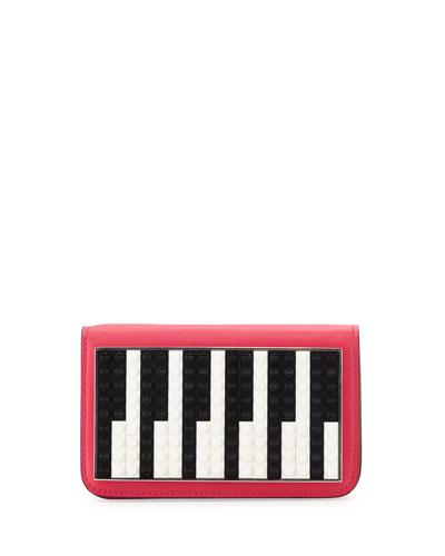 Janis Micro Piano Leather Clutch Bag, Fuchsia