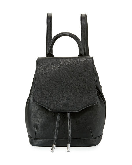 Micro Pilot Leather Backpack, Black