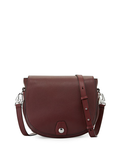 Flight Leather Saddle Bag, Plum