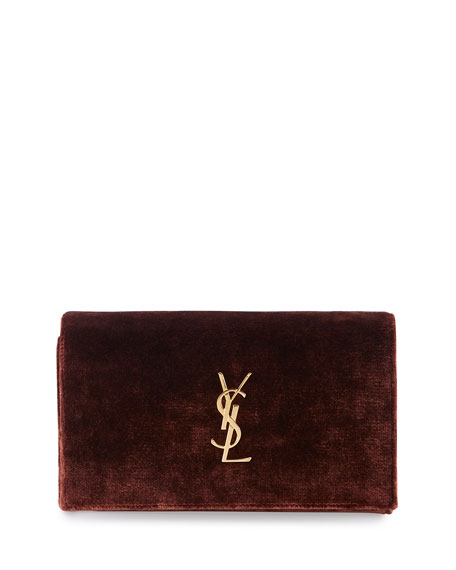 Monogram Velvet Chain Shoulder Bag, Red/Brown