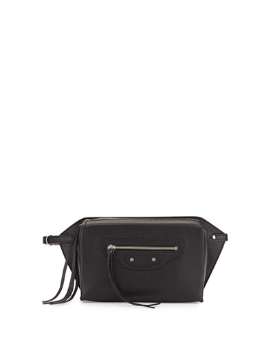 Paper Zip-Around Belt Bag, Black