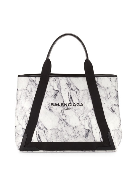 Cabas Medium Marble-Print Tote Bag, White/Black