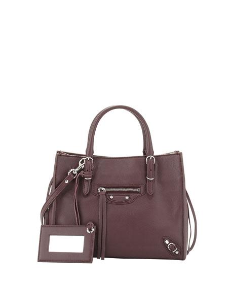 Balenciaga Papier A4 Mini Leather Tote Bag Rouge Aubergine