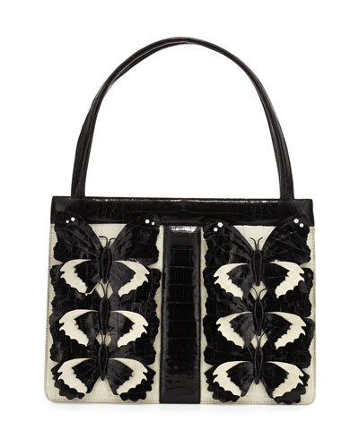 Crocodile Medium Butterfly Striped Frame Bag, Cream/Black