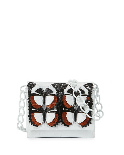 Gio Butterfly Crocodile Crossbody Bag, Black/Brown/White