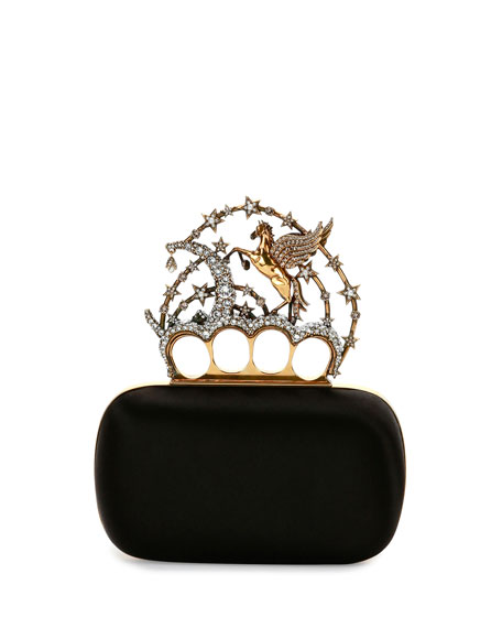 Seasonal Satin Knuckle Clutch, Black