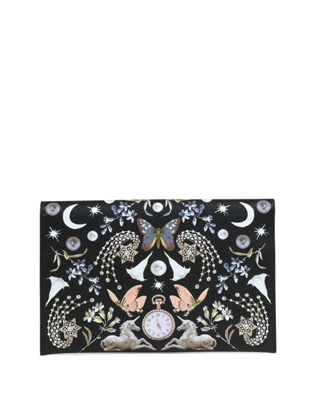 Butterfly-Print Leather Envelope Clutch Bag, Black Pattern