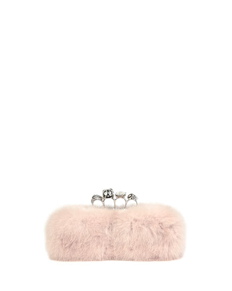 Mink Fur Knuckle Clutch Bag, White