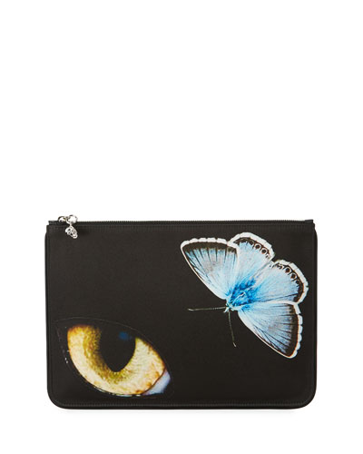 Big Obsession Satin Pouch Bag, Black Pattern