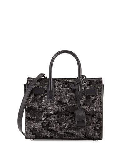 Sac de Jour Nano Camo Satchel Bag, Black/Silver