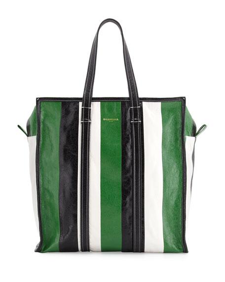 Bazar Medium Striped Leather Shopper Tote Bag, Green/White/Black
