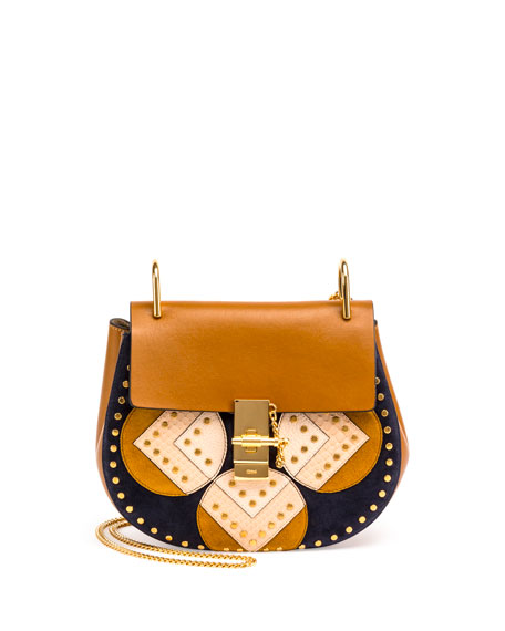 Drew Python Patchwork Shoulder Bag, Mustard Brown
