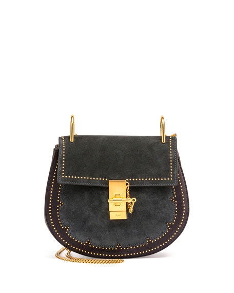 Drew Small Studded Suede Shoulder Bag, Full Blue