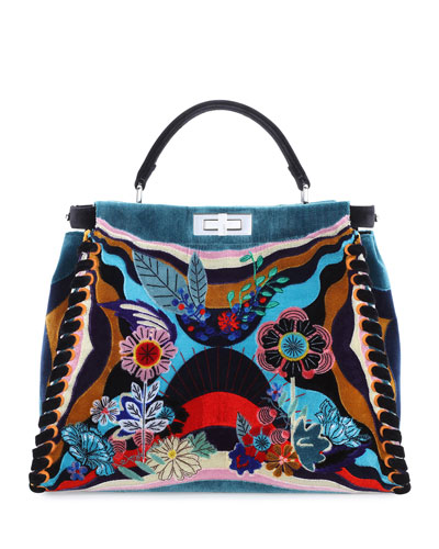Peekaboo Large Embroidered Velvet Bag, Multi