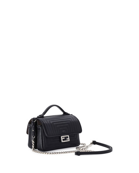 Baguette Micro Double-Sided Quilted Leather Bag, Black