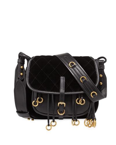 Quilted Velvet & Leather Messenger Bag