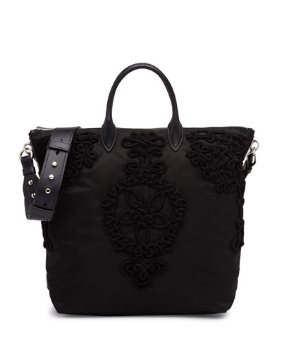 Large Nylon Embroidered Tote Bag, Black (Nero)