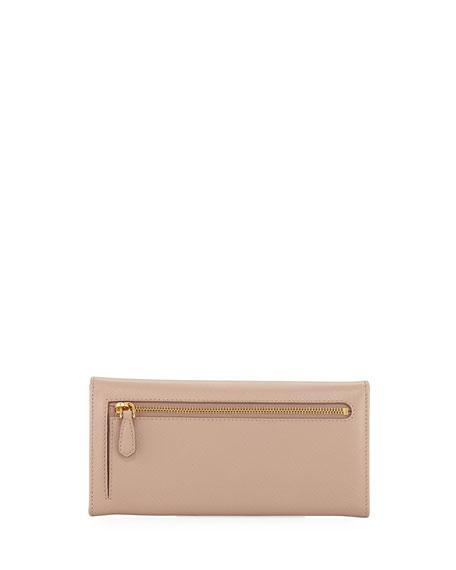 Saffiano Leather Continental Wallet, Black (Nero)